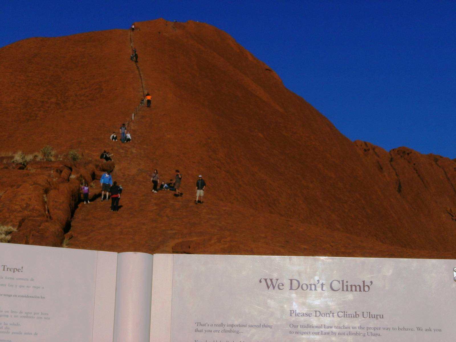 Please don't climb Uluru